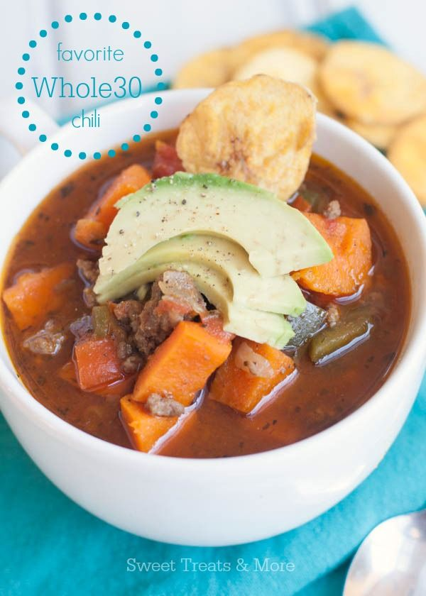 """This Sweet Potato Chili is whole30 approved, healthy, and packed with rich sweet and spicy flavor! I miss sugar you guys. Mostly chocolate chip cookies. Okay, maybe even just chocolate chips! But I must say, I feel really good so far, eating """"clean."""" I've had so much more energy and I feel leaner (I think Read More"""