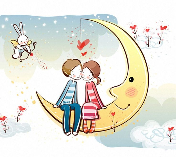 Kiss on moon love hd wallpapers pinterest kiss and moon - Love cartoon hd ...