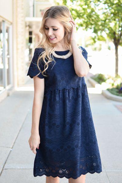 Laken Crochet Lace Dress in Navy