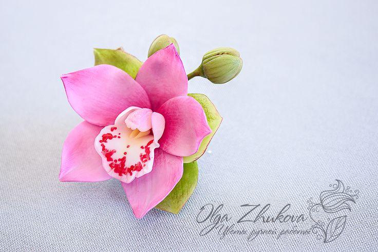 Зажим для волос с орхидеей « Украшения ручной работы. Украшения из полимерной глины. Авторские украшения