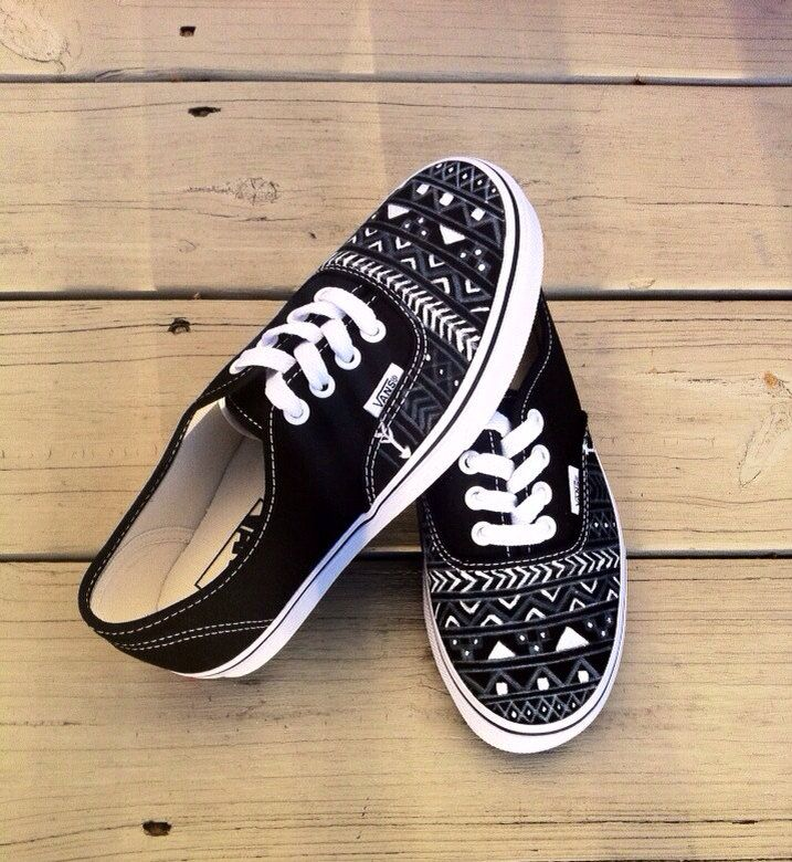 Aztec/Tribal Vans by VuVuDesigns on Etsy, $109.00. Oooooo I want these!!! Too bad I don't have $109 :(