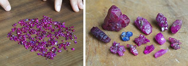 Rough ruby and sapphire crystals from An Phu (left) and small rounded rubies hosted in placers (right) are sold in the Luc Yen gem market. Photos by Vincent Pardieu, © GIA.