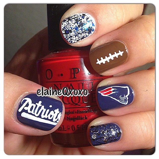 New England Patriots by elaineqxoxo  #nail #nails #nailart  wish I could do something like this