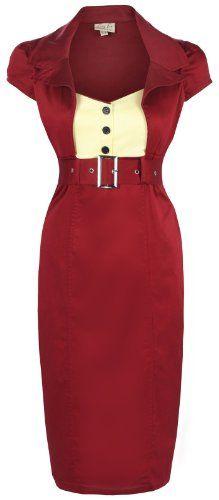 Lindy Bop 'Wynona' Chic Vintage 1950's Secretary Style Pencil Wiggle Dress