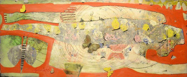 Gesine Arps - Farfalla nella pancia - 50x120 #butterfly #papillon #art #