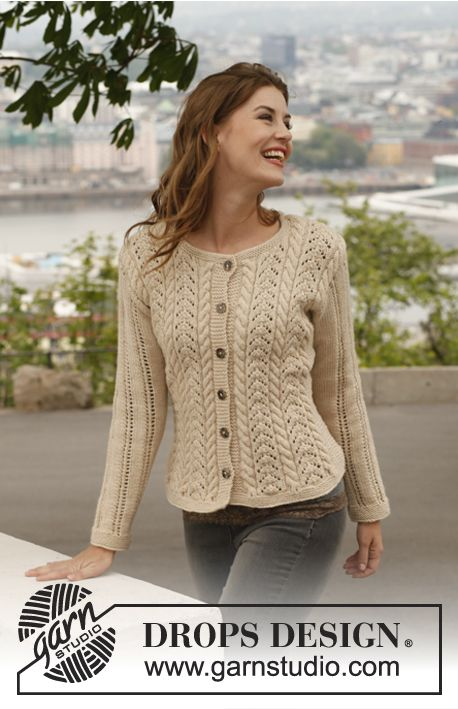 """Free pattern: Knitted DROPS jacket with cables and lace pattern in """"Lima"""". Size: S - XXXL."""