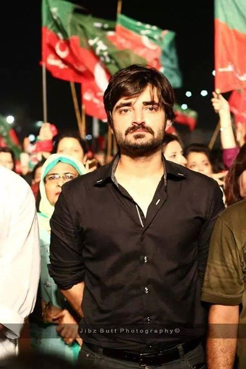 hamza ali abbasi in PTI march and he support imran khan with the bottom of his heart. he is an actor.