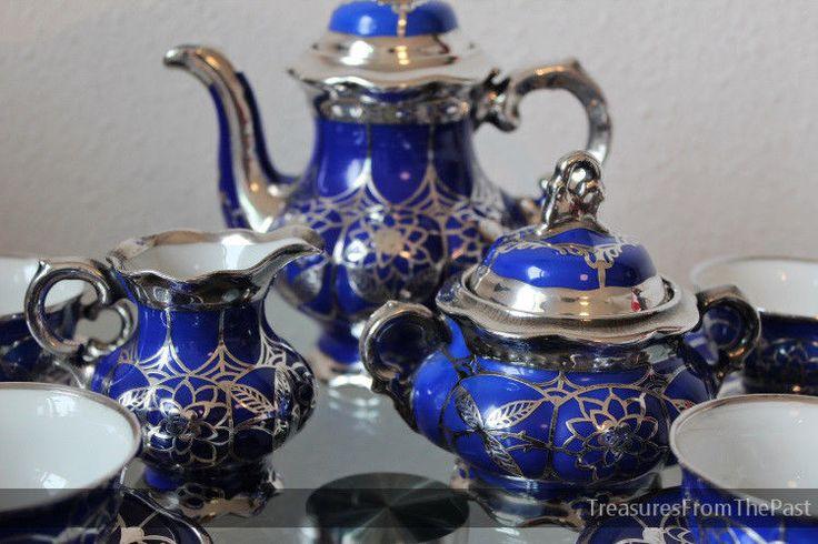 Hutschenreuther pocelain silver overlay thee mokka kaffee vase silber porzelan #hutschenreuther