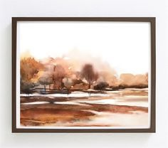 Watercolor Print, Country Painting, Country Print, Modern Country Decor, Farmhouse Art, Rustic Artwork, Rustic Painting Wall Art Print,Rust