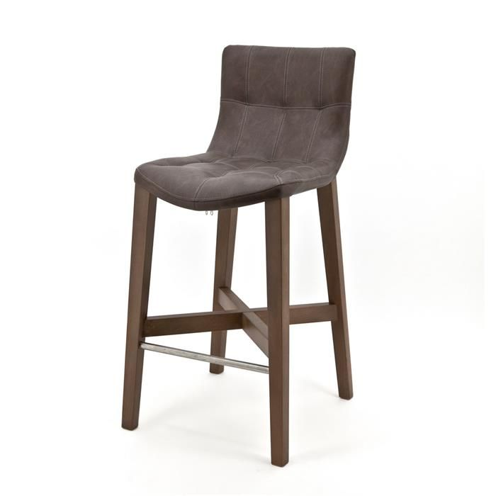 Bar chair Neba with grey oak legs - Vintage taupe (7037) #Pakhuis3 #Barkruk #Stoel