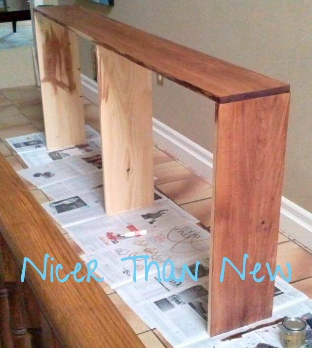 Faux Sofa Table :: Hometalk...like that it is narrow.