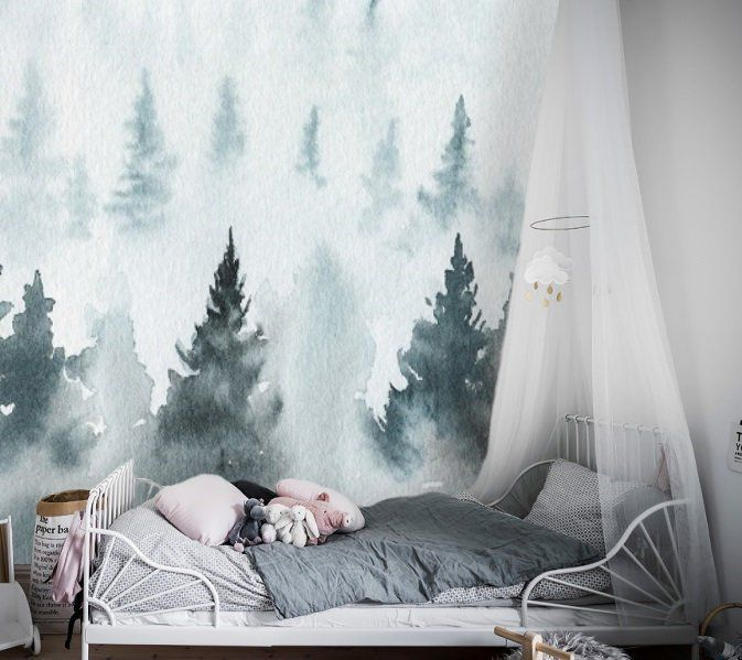 Blue Forest Watercolor Removable Wallpaper Peel And Stick Etsy Baby Nursery Wallpaper Nursery Wallpaper Forest Wall Mural