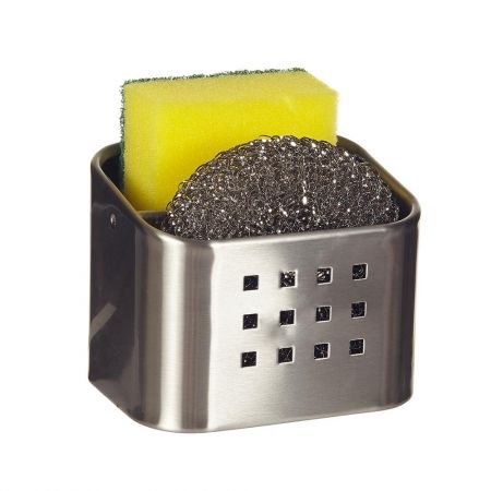 Howards Storage World | Stainless Steel Kitchen Caddy with Sponge and Scourer