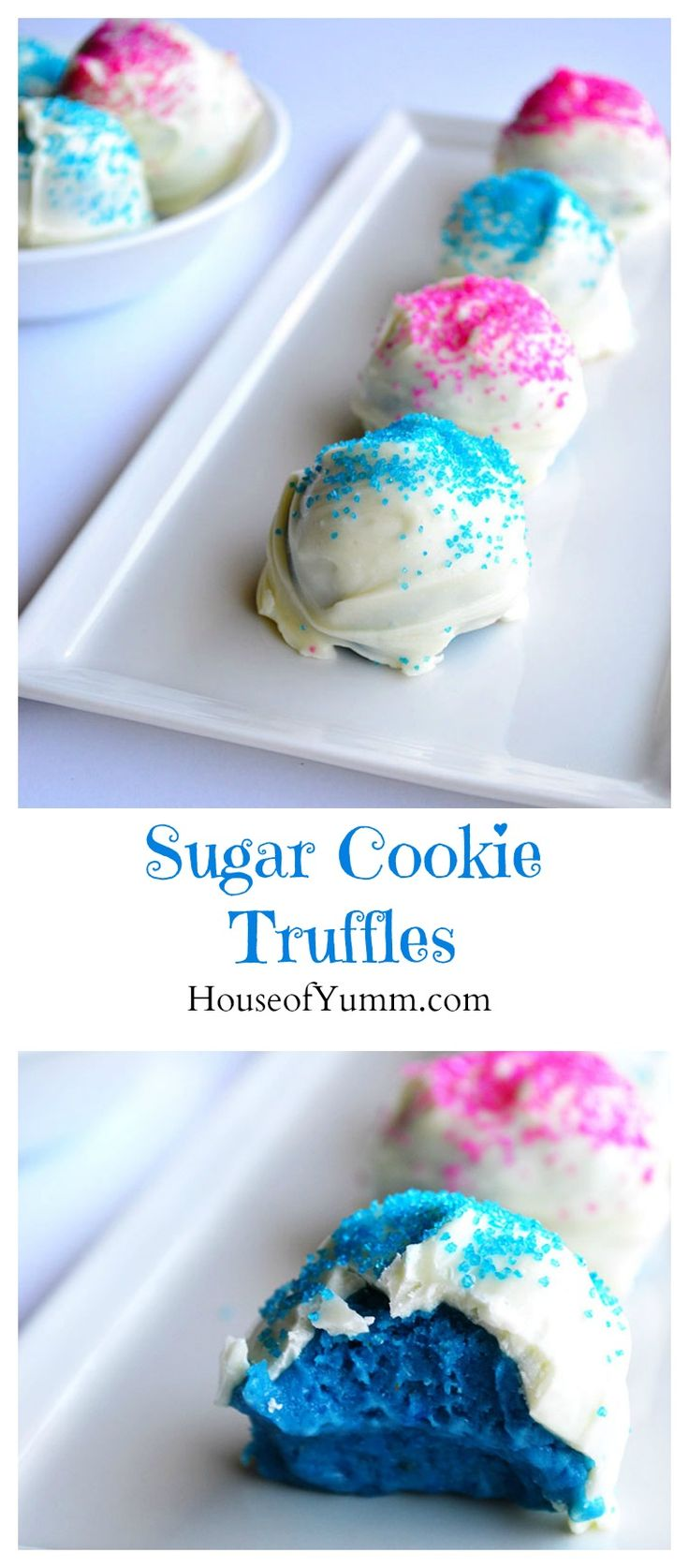 Sugar Cookie Truffles. Perfect for the Holidays, a Frozen theme party, or we used them for a gender reveal! #delicious #recipe #cake #desserts #dessertrecipes #yummy #delicious #food #sweet