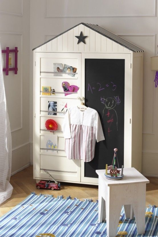 Neat looking wardrobe with chalkboard on one door and bulletin system on the other door.