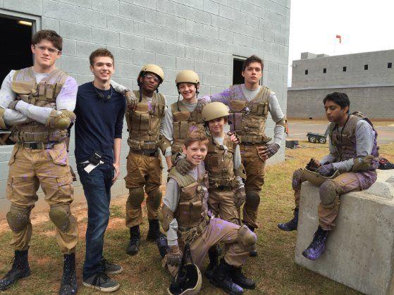 squad 53 with Jake Yancey, Alex MacNicoll, Nadji Jeter, Cade Canon Ball, Nick Robinson, Talitha Bateman & Tony Revolori on set of The Fifth Wave