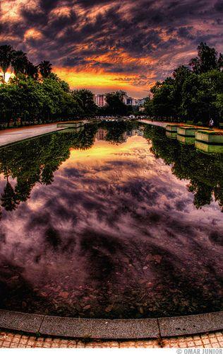 Parque Farroupilha - Espelho d'água. Porto Alegre, estado do Rio Grande do Sul, Brasil.