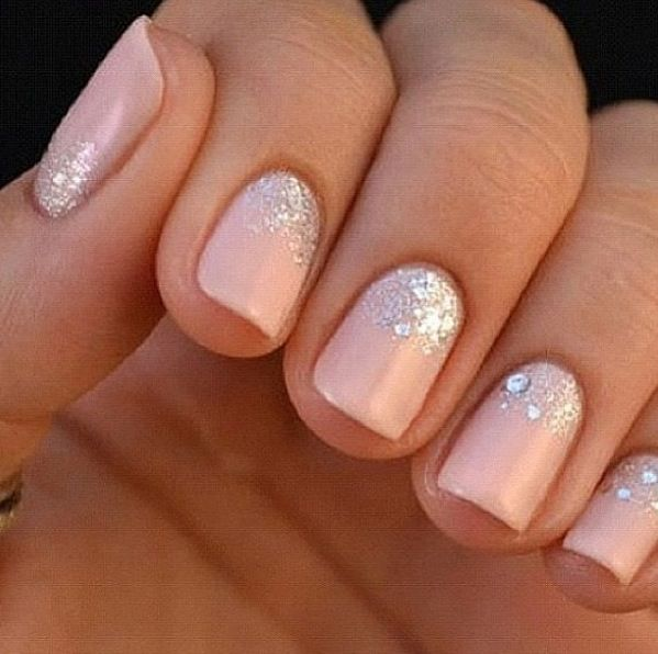 nail inspiration for your wedding day & this is one our faves! pink blush silver glitter sparkle wedding bride outfit accessories beauty
