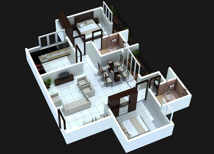 41 best images about floorplan on pinterest mansions - Architectural plan of two bedroom flat with dining room ...