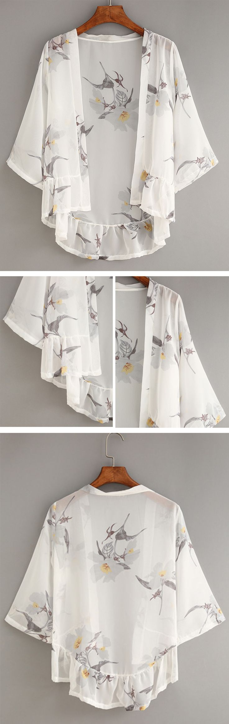 White Flower Print Ruffle Chiffon Kimono                                                                                                                                                     More
