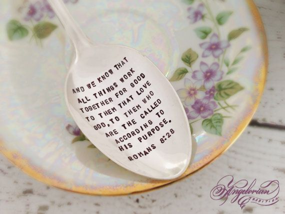 Romans 828 Metal Stamped Serving Spoon by AngelorianTradition, $30.00