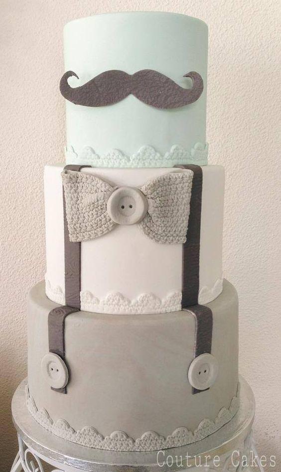 Moustache Christening Cake