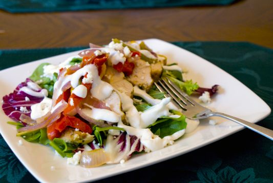 Chicken Fajita Salad - Cooking by the seat of our pants