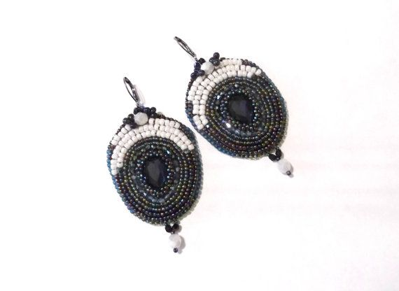 Bead embroidered earrings oversized beaded earrings by GabileriaHM