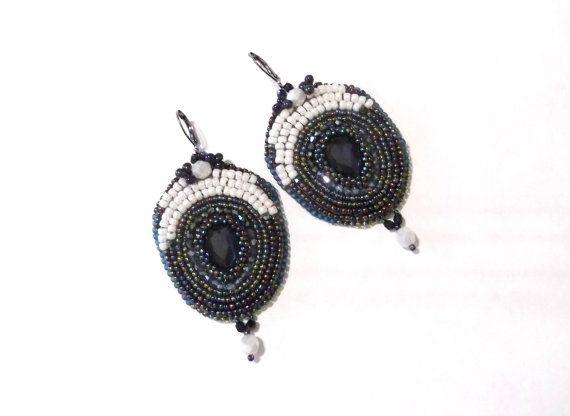 Bead embroidered earrings oversized beaded earrings by GabileriaHM