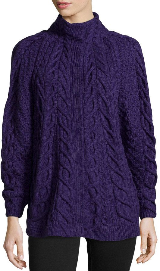 Oscar de la Renta Cashmere Hand-Knit Sweater, Plum on shopstyle.com