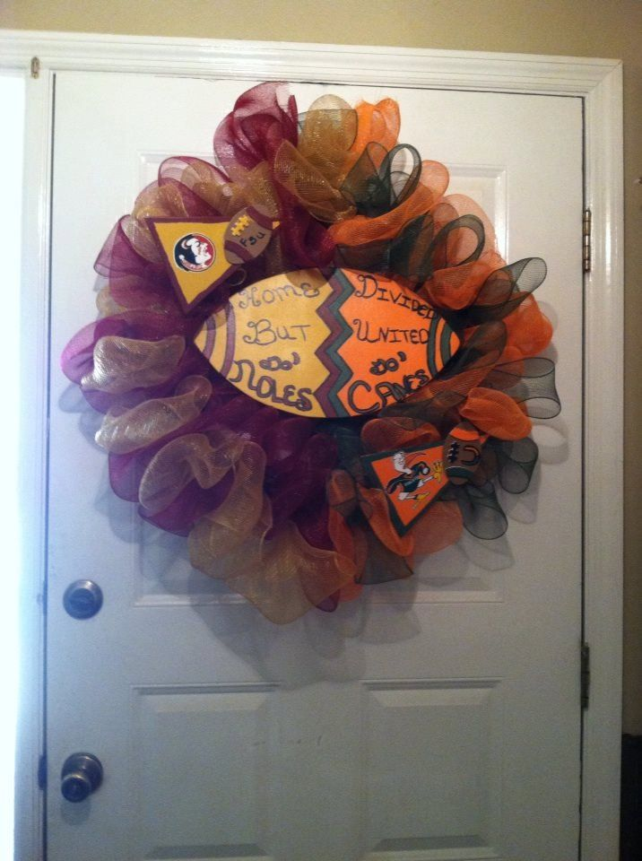 "FLorida Seminoles/Miami Hurricanes Deco Mesh Wreath,Canes/Noles House Divided Wreath, House Divided Wreath,'Canes/""Noles Wreath,Home Divided"