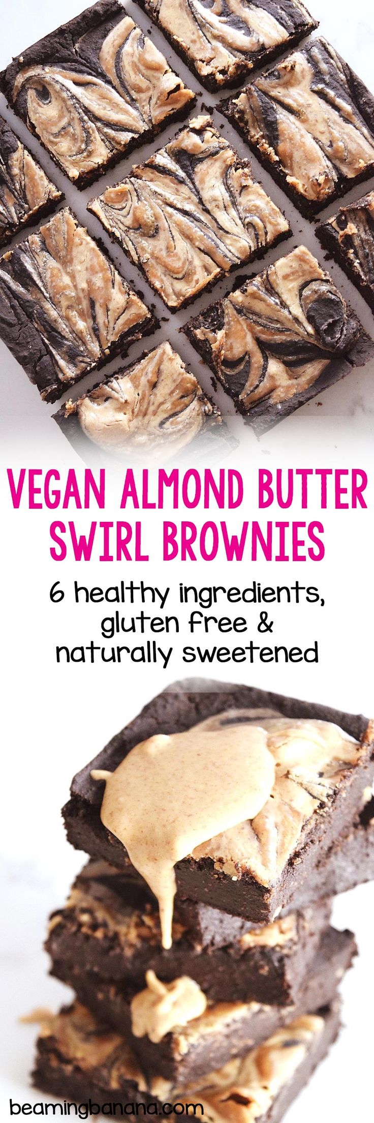 Rich, fudgy brownies with a swirl of almond butter. These vegan almond butter swirl brownies are made with just 7 healthy ingredients and you'd never know they're gluten free and naturally sweetened! My favorite brownies EVER.