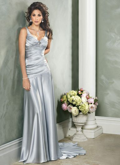 Simple silver wedding dress