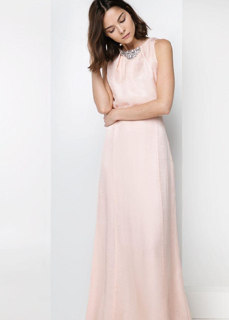 Langes Kleid aus Seiden-Mix