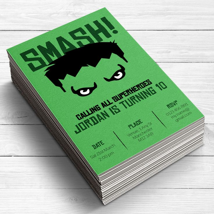 Superhero Party Invitation, Hulk Invitations, Hulk Smash Boys Invitations, Hulk Smash Boys party, superheroes, green by SnipsAndSnailParty on Etsy https://www.etsy.com/listing/251326803/superhero-party-invitation-hulk