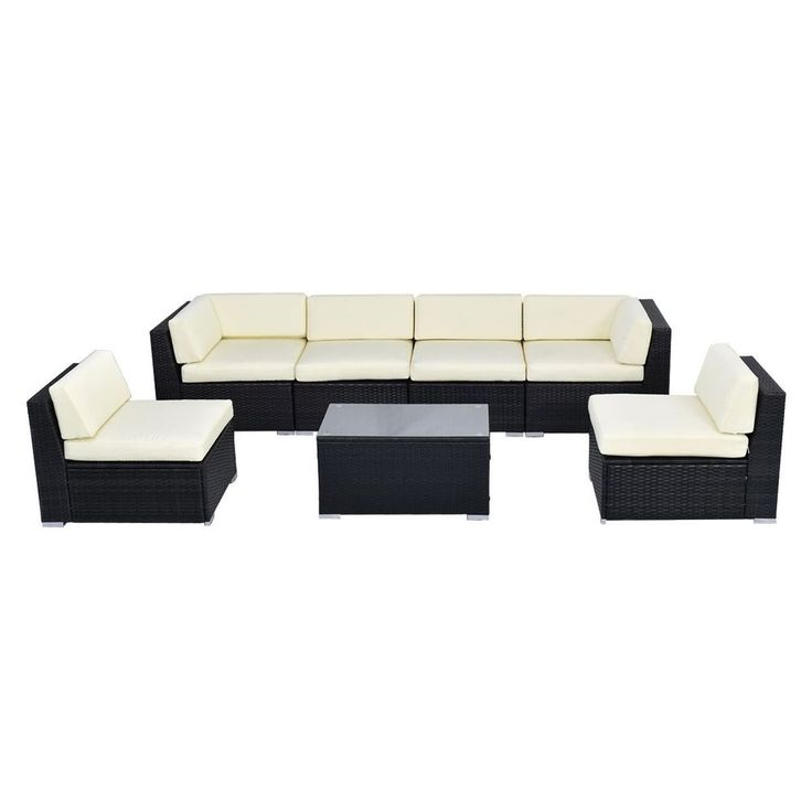 7pc Large Outdoor Patio Garden Wicker Rattan Couch Chair Table Furniture Set