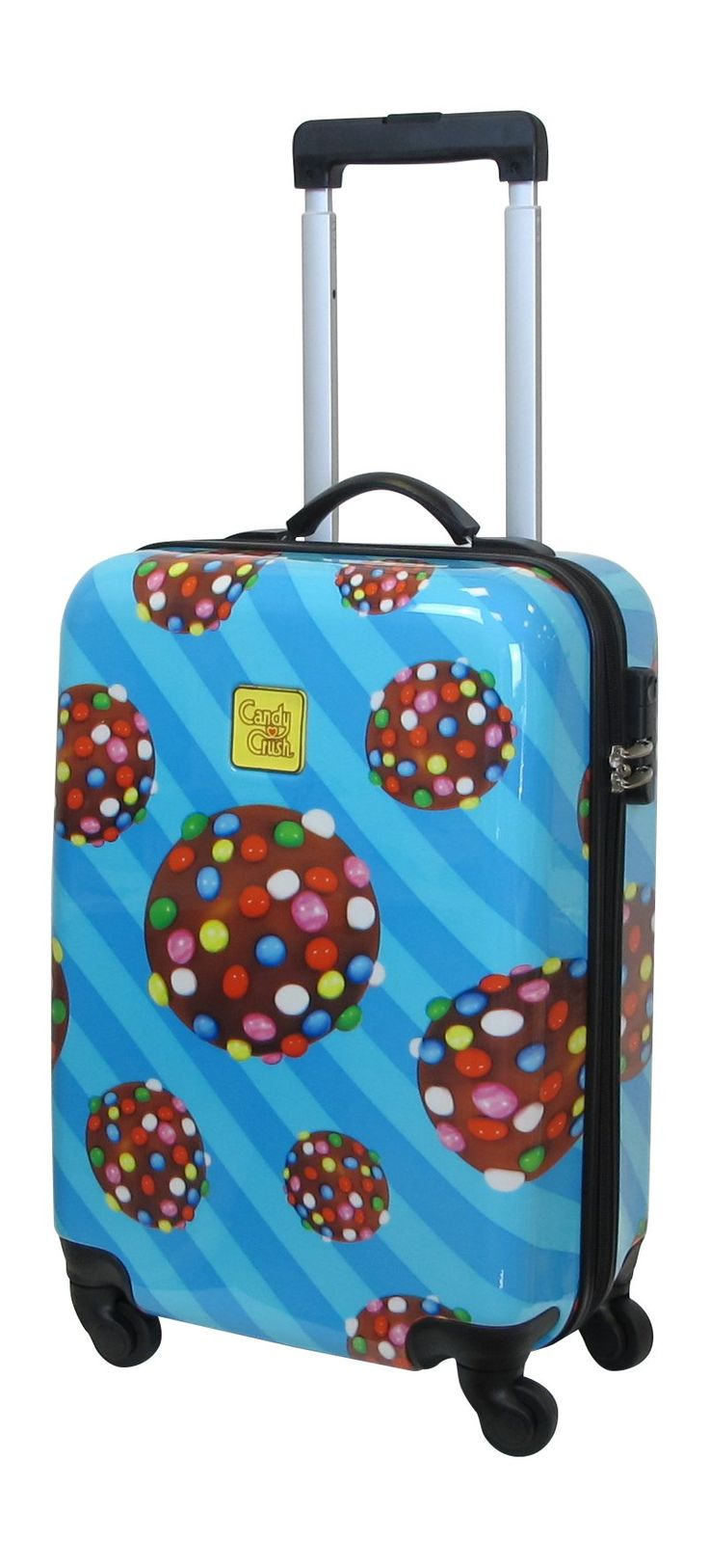 Candy Crush Cabin Bag Prallin Small, Multi-Colored, One Size. Aluminum adjustable handle. Plastic wheels.
