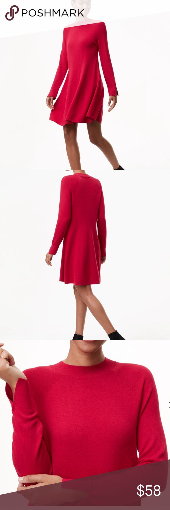 "LOFT💋Mock Neck Swing Sweater Dress 💋Stunning red sweater dress in a flirty swing style💋Long sleeves accented with split cuffs💋18"" long from the waist   **40% polyester**35% viscose**25% wool**                   Machine Washable LOFT Dresses"