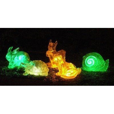Solar Changing Color Assorted Animal (Set of 5) by Homebrite Solar. $69.95. 30850/5 Features: -Auto dusk-to-dawn mode.-Place it on a metal stake or on the Ground.-For ages 12 and up. Color/Finish: -Set of 5 solar color changing crystal-like animals.-Material: Crafted color glass.-Glows in different color lights in the dark.-Beautifully accents garden in the day and at night brings dark garden to life. Dimensions: -Overall dimensions: 7'' H x 7'' W x 5'' D. Warra...