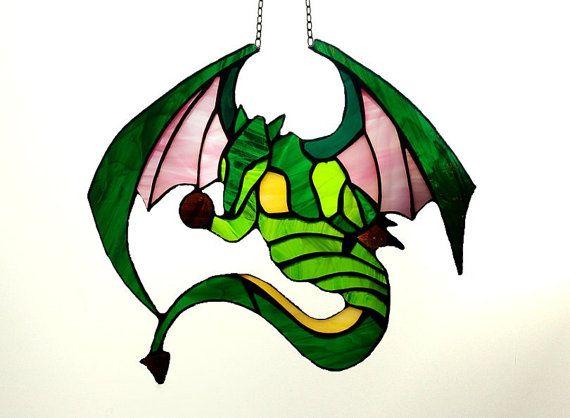 Stained Glass Dragon  tiffany glass dragon. by AmberGlassArt