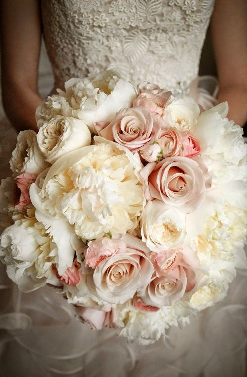 Blush Peach & Ivory Rose Bridal Bouquet