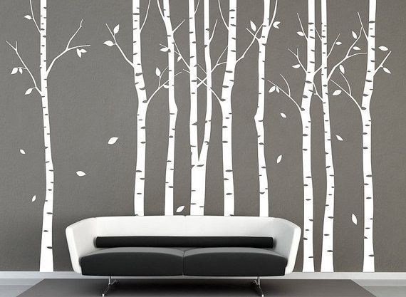 Wall decals,White trees decals, nature wall decals, vinyl wall decal, nature  wall decal stickers, birch tree, nursery wall stickers-DK067