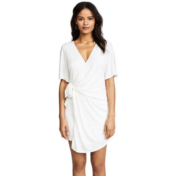 STYLESTALKER Laney Shift Dress ($180) ❤ liked on Polyvore featuring dresses, blanc, short sleeve dress, shift dress, wrap dress, white mini dress and white shift dresses