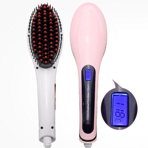 Électrique rapide des cheveux lisseur lcd peigne brosse automatique anti-brûlure masseur de coiffure