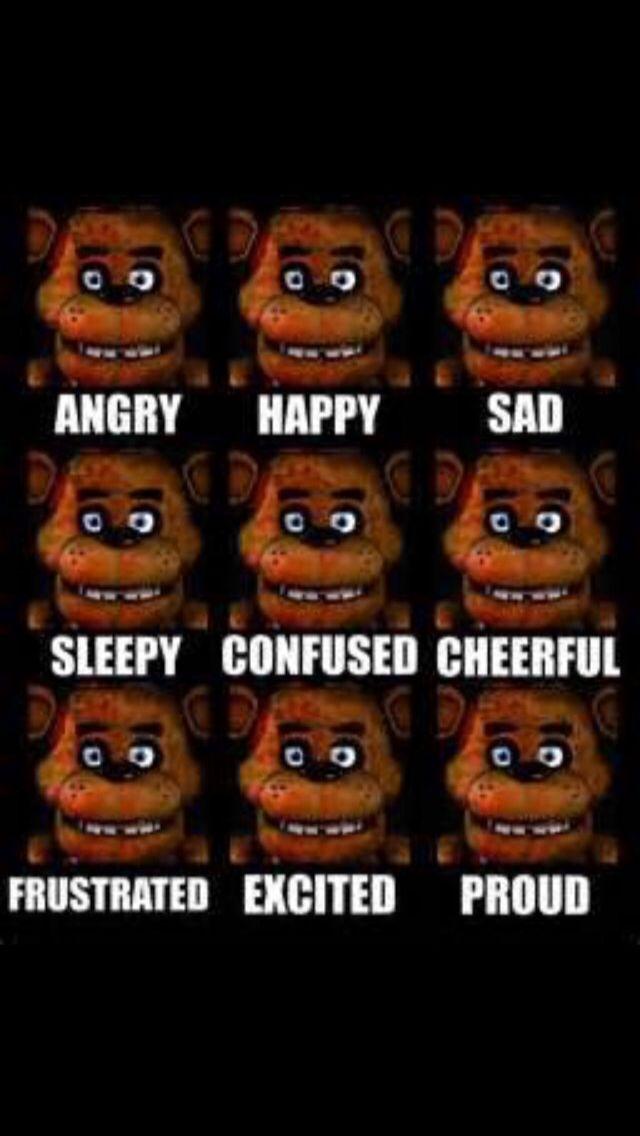 Fnaf the many faces of Freddy Fazbear.