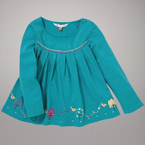 Buy John Lewis Bird Striped Swing Top, Blue Online at johnlewis.com