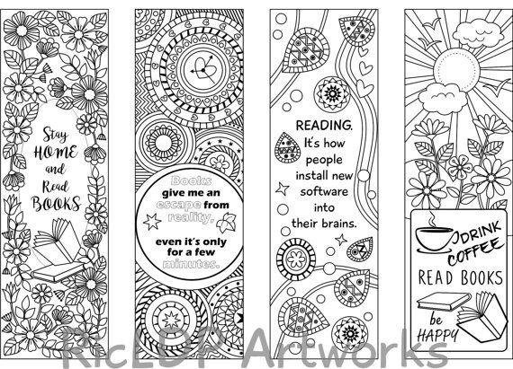 Segnalibri stampabili di disegni da colorare 8, quattro 4 con citazioni e quattro 4 astratti disegni arabescati, modelli di segnalibro