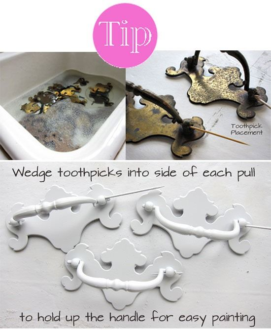 How To Paint Drawer Pulls Wedge Toothpicks Into The Sides