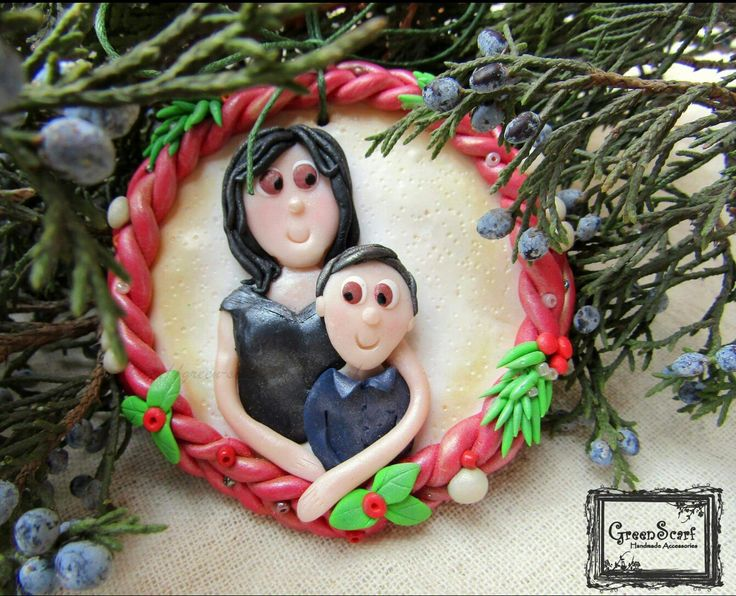 Polymer clay handmade christmas tree decoration