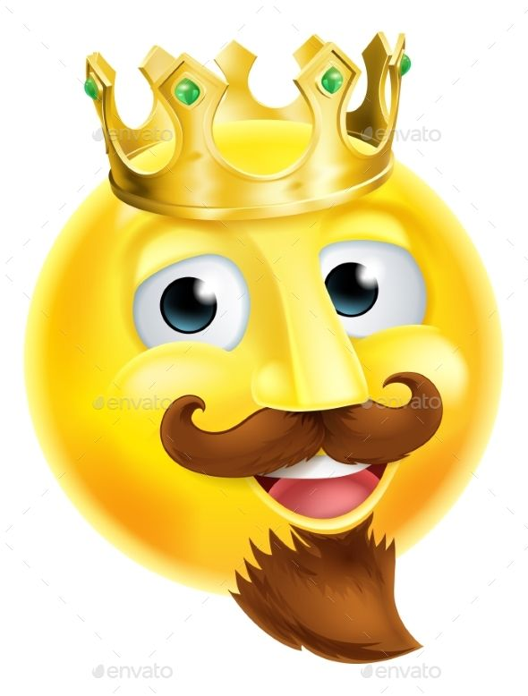 King Emoji Emoticon by Krisdog A cartoon king emoji emoticon character with a gold crown and a beard